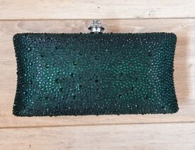 Brand New | Beth J | Women's Green Sparkle Clutch Evening Bag | Occasionwear | Party | Yorkshire