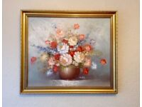 y original oil painting flowers still life antique style gold frame - colours still very vivid