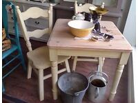 Shabby chic farmhouse pine table & 2 chairs painted in autentico cream colour