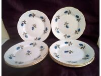 Set of 6 Vintage Bone China Tea Plates VGC