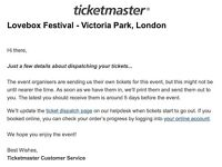 2 x Lovebox Joint Friday & Saturday (weekend) tickets for sale. Frank Ocean, Solange, Chase & Status