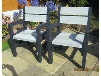 Two Very Sturdy Keter Plastic garden chairs