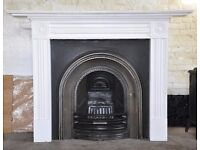 Classical Arched Victorian style cast iron insert fireplace and wooden surround