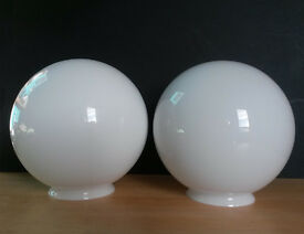 2 x 20cm Opal Glass Ball Lampshades without fittings