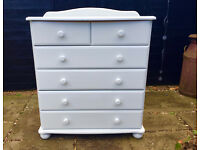 Solid wood, painted chest of drawers (light blue)