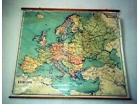 Vintage early 1960s Large School Room Roll Down Map of Europe