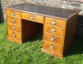 pitch pine arts and crafts desk with original brass cup handles