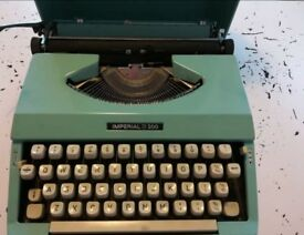 Vintage IMPERIAL 200 Green Typewriter With Case