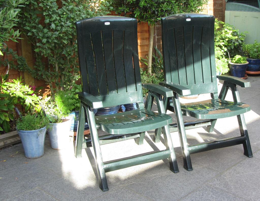 Two Jardin Reclining Green Plastic Garden Chairs Weatherproof & Two Jardin Reclining Green Plastic Garden Chairs Weatherproof ... islam-shia.org