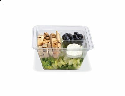 Gocubes 24 Oz Pet Container With 3-comp Clear Insert And Clear Lid 50 Sets