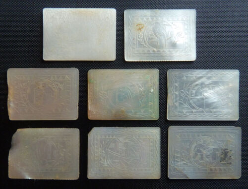 8 OBLONG antique Chinese MOP MOTHER of PEARL pictorial GAMING CHIPS tokens WOW!