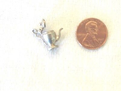 Vintage 1940's Silver charm of teapot with lid that lift up
