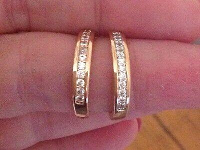18K Yellow Gold Diamond Hoop Earrings              240a