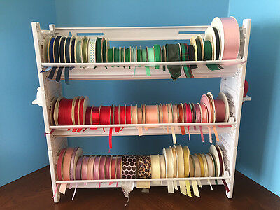 NEW Ribbon Holder Storage Rack Organizer NO DOWELS  WHITE PLASTIC