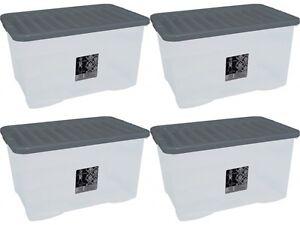 4-x-80L-CONTAINER-PLASTIC-STORAGE-BOX-LARGE-80LTR-LITRE-BOXES-CLEAR-WITH-LIDS