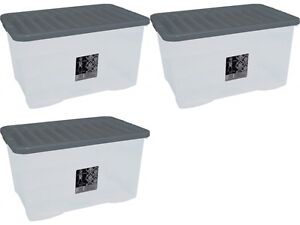 3-x-80L-CONTAINER-PLASTIC-STORAGE-BOX-LARGE-80LTR-LITRE-BOXES-CLEAR-WITH-LIDS