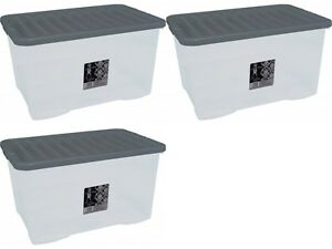3-x-45L-CONTAINER-PLASTIC-STORAGE-BOX-LARGE-45LTR-LITRE-BOXES-CLEAR-WITH-LIDS