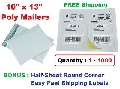 Combo 1-1000 10x13 Poly Mailers Plastic Envelopes Mailing Bags Shipping Labels