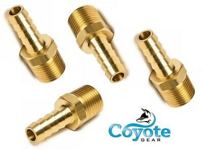 4 Pack Brass Hose Barb 38 X 38 Male Npt Thread Hex Fuel Straight Fitting