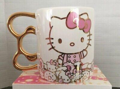 NIB Hello Kitty Grand Cafe Exclusive LE Gold Bow Handle Mug
