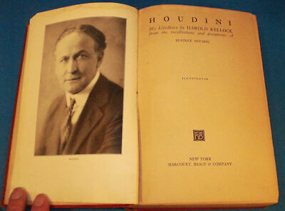 Houdini His Life Story-Harold Kellock-Beatrice Houdini-1st Edition-2nd print.-Af