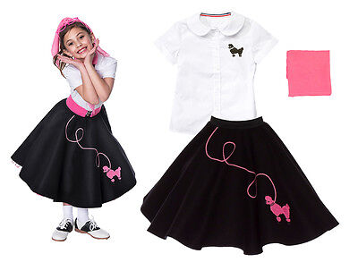 Kids 50s Outfit (Hip Hop 50s Shop Girls 3 pc Poodle Skirt Outfit Halloween or Dance Costume)
