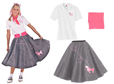 Hip Hop 50s Shop Womens 3 pc Poodle Skirt Halloween or Dance Costume Set - 50's Poodle Skirt Halloween Costume