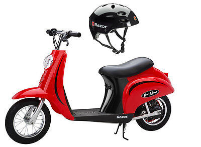 Razor Pocket Mod 24V Electric Scooter (Red) & Youth Sport Helmet (Razor Sport Mod Electric Scooter)