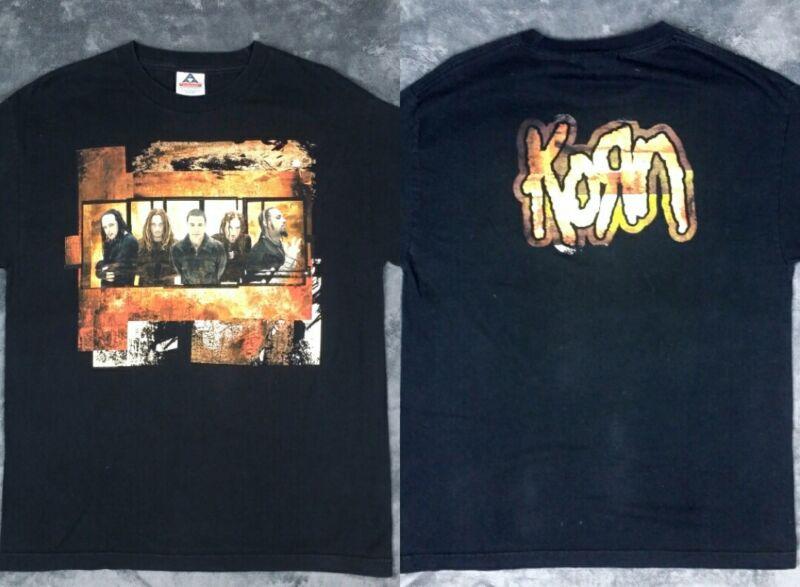 Vtg KORN Untouchables 2002 Pop Sux Tour Black Concert T Shirt Men