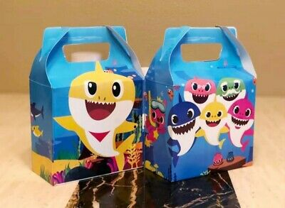10 Baby Shark Party Favor Box Loot Bags Kids Birthday Party Supplies Treat Bags (Kids Party Bags)