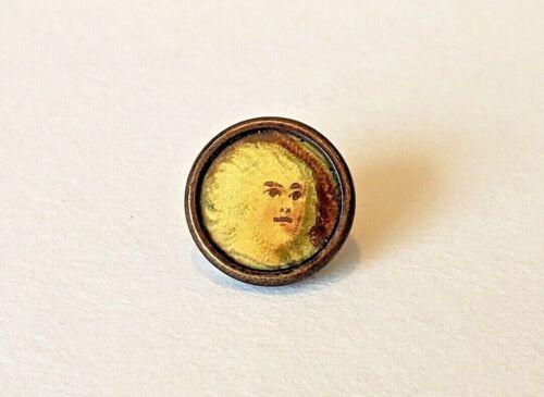 "Antique Dimi Button...DIMINUTIVE Celluloid Litho….Tiny Person....Under 3/8"""