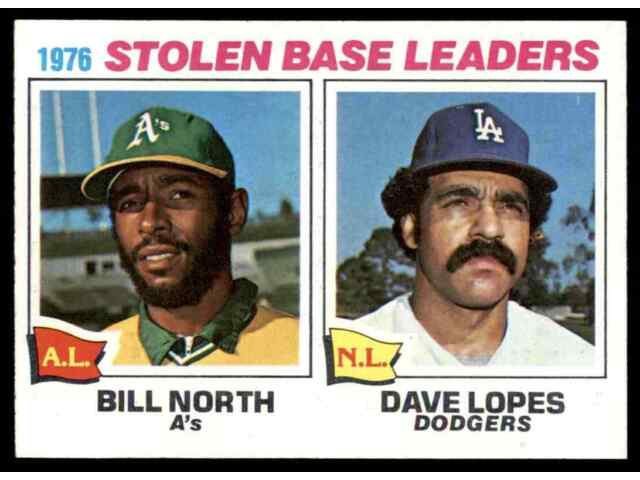 1977 TOPPS STOLEN BASE LEADERS NORTH/LOPES #4 MINT WELL CENTERED BLR16W1