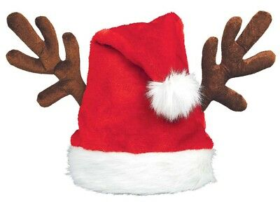 Santa Hat With Antlers (Santa Claus Hat With Antlers Adult Christmas Costume)