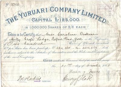 Original Venezuela British Guiana 1888 The Yuruari Mining Company 200 shares