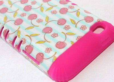 iPod Touch 4th Gen - HARD&SOFT RUBBER HYBRID ARMOR CASE PINK BLUE CHERRY FLOWERS Ipod Touch 4 Hybrid