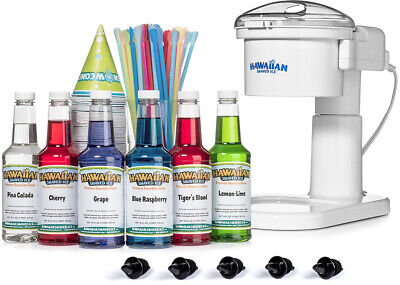 Hawaiian Shaved Ice Kid Friendly Snow Cone Machine S700 Kit 6 Flavor Party Pack