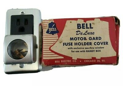 Vintage Mid Century Bell Deluxe Motor Gard Screw Fuse Holder Cover With Window