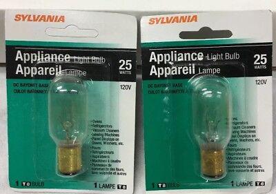- Sylvania 25T8DC #18321 Appliance Microwave Light Bulb Ba15d Bayonet Base 2-pcs