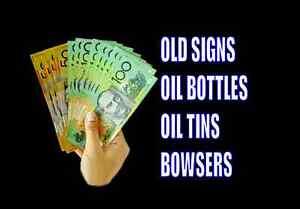 Cash Paid Oil Bottle Signs Tins Bowser Waratah West Newcastle Area Preview