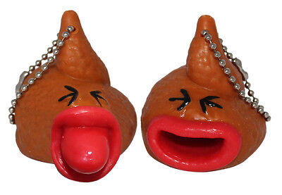 Lucore Poop Poop Toy Keychains w/ Pop Out Tongues - 2 pcs Novelty Gag - Toy Poop