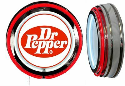 Dr Pepper Vintage Logo Sign Neon Sign RED Neon Chrome Shell No Clock Soda Pop