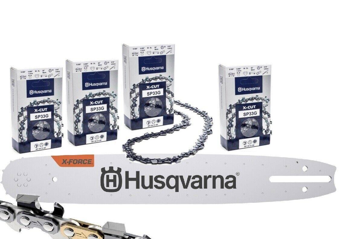 """4 Ketten passend für Husqvarna 455 45 cm 325/"""" 72 TG 1,3 mm Sägekette Schwert"""