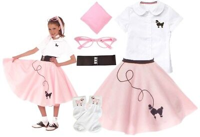 Child's Light Pink Poodle Skirt Hip Hop 50's Shop Costume, 7-piece, Size 10/12
