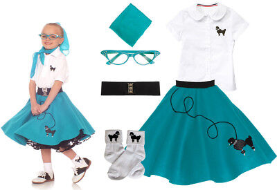 50s Costume For Girls (Hip Hop 50s Shop Girls 6 pc Poodle Skirt Outfit Halloween or Dance Costume)