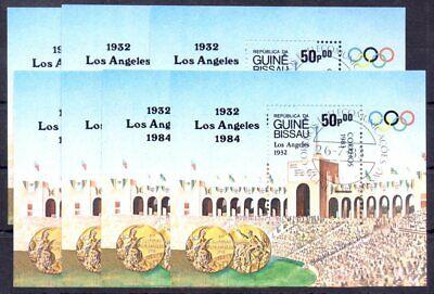 Guiné Bissau 1983 Cancel Bloc Los 1984 Olympic Games Olimpiadi USA Athlet 7 pc