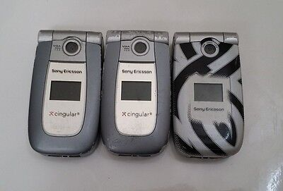 Lot of 3 Sony Ericcson Z500a Cingular  Cell Phones All Power Up All Sony Ericsson Cell Phone