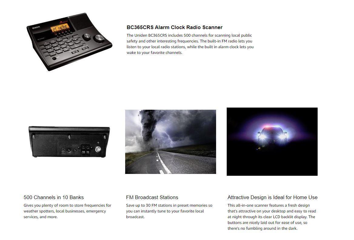 Uniden Police Scanner BC365CRS Base Radio 500 Ch FM Weather