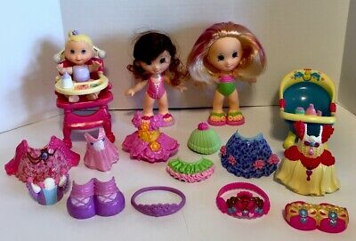Fisher Price Snap N Style Lot 2 Dolls Baby Bathtub High chair Clothes Shoes