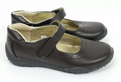 CHEROKEE Leather-Like Girls Brown Flats Uniform Shoes Size -