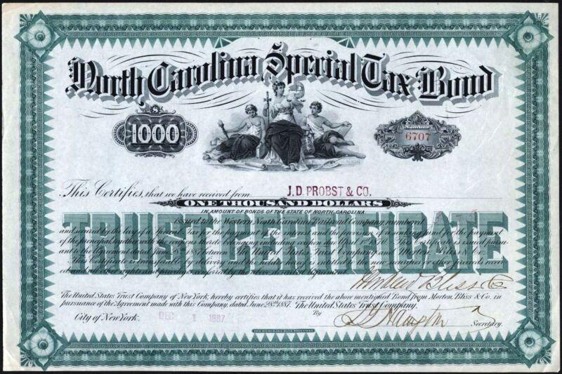 $1000 NORTH CAROLINA SPECIAL TAX BOND, 1887, UNCANCELLED TRUST CERTIFICATE